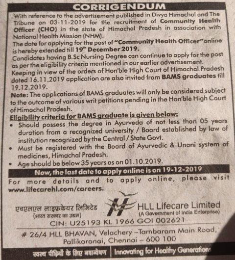 Notification   CHO Recruitment in Himachal   mannatacademy.com